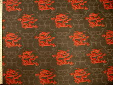Asian Oriental Dragon Chinoiserie Red Charcoal Tapestry Upholstery Fabric
