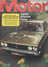 Motor magazine 7/9/1974 featuring VW Passat road test, Fiat 124 Abarth Rally