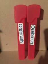 (2) Two Orabrush Tongue Cleaner Travel Case-Red