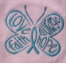Teal Hope Courage Butterfly Pink MD Crew Neck S/S T Shirt Ovarian Cancer New