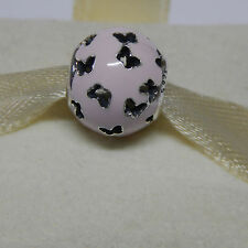 New Authentic Pandora Charm 791483EN68 Fluttering Butterflies Pink Box Included