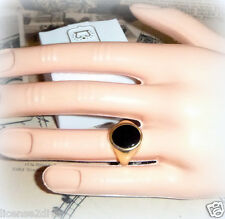 9CT YELLOW GOLD BEZEL SET VINTAGE ART DECO ONYX RING! ABSOLUTE MINT CONDITION!