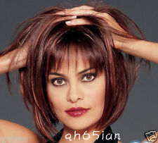 Fashion Charm ladies short mix red Brown Natural Hair Full wigs+free wig cap