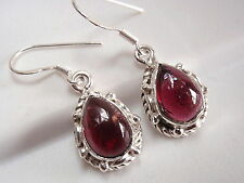 Garnet Earrings 925 Sterling Silver Rope Style Decor on Sides Dangle  #114zb-b