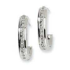 Ladies 14k White Gold Diamond Post J Hoop Diamond Fascination Earrings
