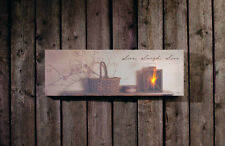 Live Laugh Love basket w pip berries Radiance Canvas Wall Art w flickering flame