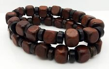Mens Beads Bracelets Brown Cubes Coconut 2pcs Surf Handmade Jewellery By TaKuKai