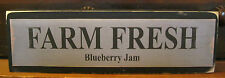 Farm Fresh Blueberry Jam Primitive Rustic Wooden Sign Block Shelf Sitter