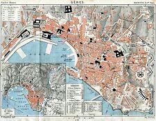 Pianta di Genova. Carta Topografica,Geografica.Stampa Antica + Passepartout.1886