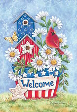 #96 PATRIOTIC BLOOMS FLOWERS WELCOME BIRD SUMMER HOUSE FLAG 28X40 BANNER