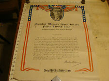 Vintage ORIGINAL Poster: 1918 PRESIDENT WILSONS appeal for 4th liberty loan