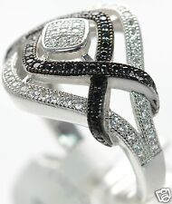 Solid 925 Sterling Silver Black & White Lab Simulated Diamond Ring Sz-8 '