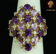 $6500 Levian / 5.6 CWT Diamond Tourmaline & Amethyst gemstones Ring / 14K gold
