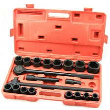 "21 Pc 3/4"" Drive SAE Impact Socket Set Ratchet Extension Standard 6 Point cr-v"