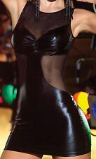 Sexy Black Faux Latex and See Through Mesh Dress Party Clubbing