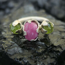 Turkish Ancient Handmade Designer Rough Ruby Ring With Peridot Sterling Silver