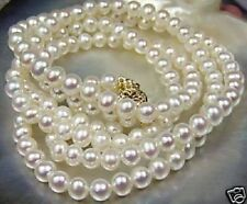 "Beautiful!7-8mm White Akoya Cultured Pearl Necklace 25""L030"