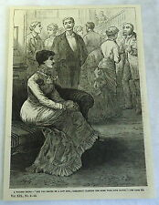 1885 magazine engraving ~ A Witless Thing - Woman Seated On A Sofa