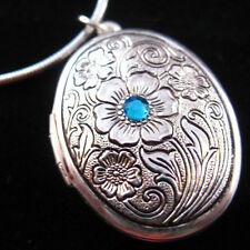 Blue CZ Flower Silver Tone Oval Picture Locket Pendant Necklace