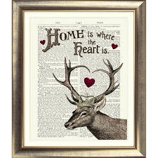 ART PRINT ORIGINAL ANTIQUE BOOK PAGE Dictionary Old Vintage STAG DEER HOME HEART