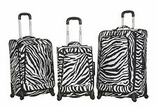 Rockland F180 Fusion 3 Piece Luggage Set Polyester - Zebra New
