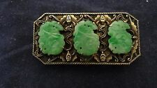 Superb Antique Chinese Export Silver Bats With Three Jade Inserts Dress Clip