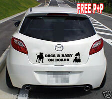 dogs and  Baby on Board Funny Novelty Car Bumper rear Window Sticker Decal