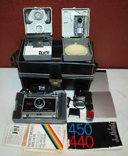 VINTAGE POLAROID 440 INSTANT FOLDING LAND CAMERA W/ ACCESSORIES & CASE ~105~
