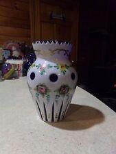 "Bohemian Czech Hand Painted White Glass Cut to Cobalt Blue Vase 6"""