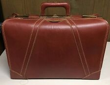 VTG STITCHED THICK RED BROWN LEATHER SUITCASE LUGGAGE TRAVEL BAG BRASS HARDWARE