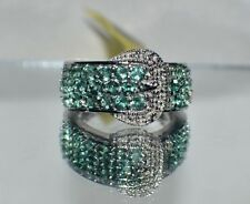 Indian Ocean Apatite, White Topaz Platinum Over Sterling Silver Buckle Ring