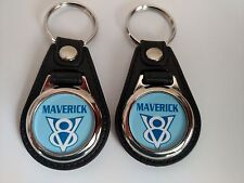 FORD MAVERICK 1975 V8  KEYCHAIN 2 PACK FOB CAR LOGO