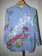 Citron Santa Monica Blue Silk Floral Print Top Blouse XL