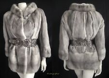 Heartbreaker! Silver SAPPHIRE Gray Blue Iris Mink Fur Coat Jacket ~ Bridal