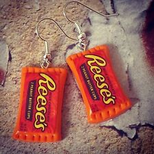 Unique REESES EARRINGS handmade COOL dangly PEANUT BUTTER CUPS mixed up dolly