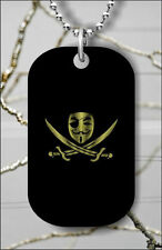 ANONYMOUS WEB PIRATE FLAG DOG TAG NECKLACE PENDANT FREE CHAIN -drf5Z