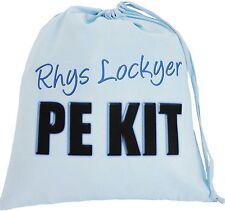 BLUE PERSONALISED - PE KIT TEXT - LARGE COTTON DRAWSTRING BAG - Gym