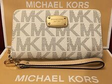 NWT MICHAEL KORS PVC JET SET LARGE MF PHONE CASE WRISTLET/WALLET IN VANILLA