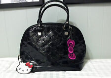 LOUNGEFLY HELLO KITTY  Black Patent Embossed Tote Hand Bag Purse Sanrio 2013
