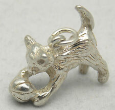 3D STERLING SILVER CAT & BALL CHARM