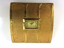 Vintage Evans Gold Tone Ladies Make-Up Mirror Powder Compact with Working Watch