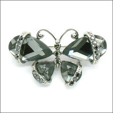 Butterfly Insect Pin Brooch Costume Jewelry Crystal Rhinestone Black Silver Tone