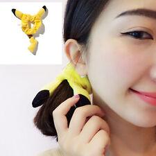 Yellow Pocket Monster Pokemon Pikachu Hair Ring Scrunchie Ear Headwear Band