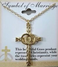 """Christian Symbol of Marriage 18"""" Cross Necklace in Gold Plate, Great Gift NEW"""