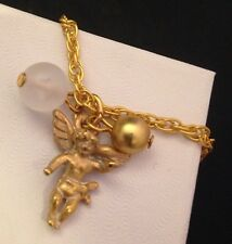 Vintage Guardian Angel Cherub Necklace Enamel Frosted Glass Gold NWOT GIFT BOX