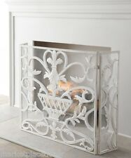 French Country Tuscan Urn Fleur De Lis Antique White Fireplace Fire Screen
