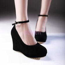 Womens Ladys Round Toe Suede Platform Wedge Heel Ankle Strap Shoes Black US 10