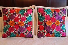 2 Floral Cushion Covers handmade by Mexican women artisans