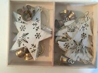 Gisela Graham Christmas Box 10 Cream Tin Tree Decorations Angels Star Tree Bells