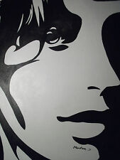 abstract black white pop art face portrait large oil painting canvas original